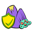landslide and yellow shield with tick icon cartoon vector image