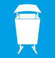 litter waste bin icon white vector image vector image