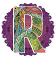 mandala with letter r decorative zentangle vector image