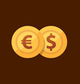 pair euro - dollar - icon with golden coins in vector image vector image
