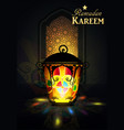 ramadan hanging shiny lanterns poster vector image