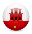 Round glossy icon of gibraltar vector image