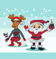 santa cartoon with funny santa claus and vector image vector image