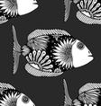 seamless pattern fish vector image vector image