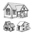 set of a cottage sketch vector image vector image