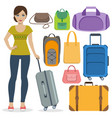 set of travel bags and girl vector image vector image