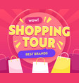 shopping tour banner with colorful bags stock vector image vector image