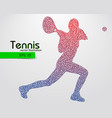 silhouette a tennis player from triangles vector image