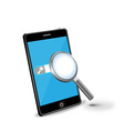 smartphone and magnifying glass vector image