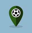 soccer ball map pin vector image