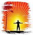 sun set background vector image vector image