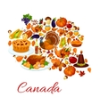 Thanksgiving holiday symbols in canada map shape vector image vector image