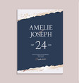 wedding navy paper invitation cards with luxury vector image vector image
