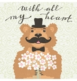 With all my heart Hipster bear with a bouquet of vector image vector image