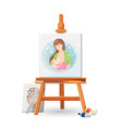 wooden easel with picture of woman breastfeeding vector image vector image