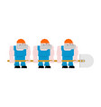 worker with shovel worker in helmet and blue vector image