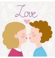 Children couple kissing vector image