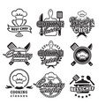 kitchen classes labels cooking silhouette vector image