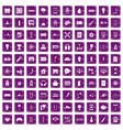 100 energy icons set grunge purple vector image vector image