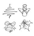 4 Christmas Single Line Icons