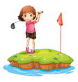 An island with a girl playing golf vector image vector image