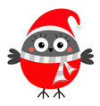 bullfinch winter red feather bird santa hat gray vector image