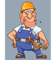 cartoon man in overalls with tools and helmet vector image vector image