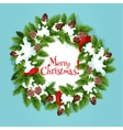 Christmas wreath with ribbon greeting card design vector image