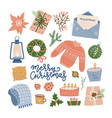 collection of christmas things - decorations vector image