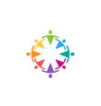 colorful abstract people circle team logo vector image vector image