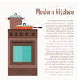 colorful kitchen range with utensil vector image vector image