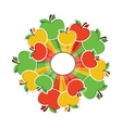 colourful apples around circle with place for your vector image vector image