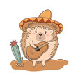 cute character hedgehog in a hat plays guitar vector image