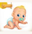 cute kid ba3d icon vector image vector image