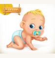 cute kid baby 3d icon vector image vector image
