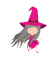 cute witch flying without face colorful silhouette vector image vector image
