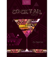Disco cocktail poster with triangle background vector image