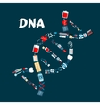 DNA formed of healthcare or medicine icons vector image vector image