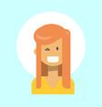 female winking emotion profile icon woman cartoon vector image