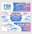 fish banners river and ocean sketch fishes vector image vector image