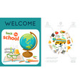 flat education colorful composition vector image vector image