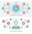 Flat line Business Planning and Consulting vector image vector image