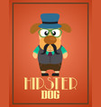 funny hipster dog vector image vector image