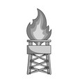 gas toweroil single icon in monochrome style vector image vector image