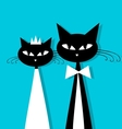 Groom and bride cats wedding for your design vector image