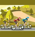 group of cyclists man in road sport vector image vector image