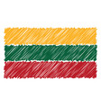hand drawn national flag of lithuania isolated on vector image vector image