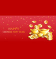 happy chinese new year card with golden ingots and vector image