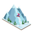 isometric woman pulls off the mountain vector image