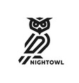 linear owl logo or design template vector image vector image